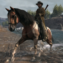 Marston crossing a small river