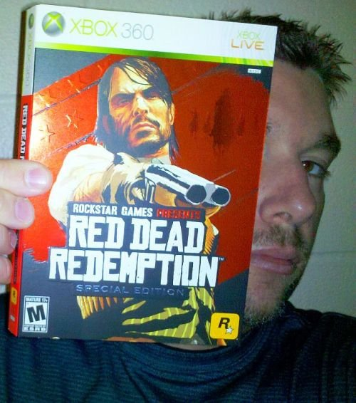 "Me holding the special edition of ""RDR"" for XBOX."